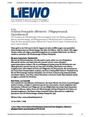 200616_Liewo_ Schloss-Festspiele offerieren Pflegepersonal Opernbesuch